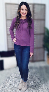 Cowl Me Cozy Waffle Knit Top