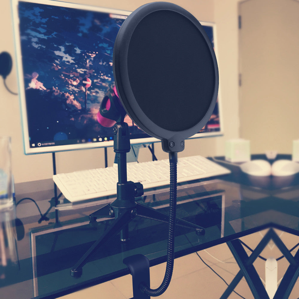 Double Layer Microphone Pop Filter with Swivel Mount