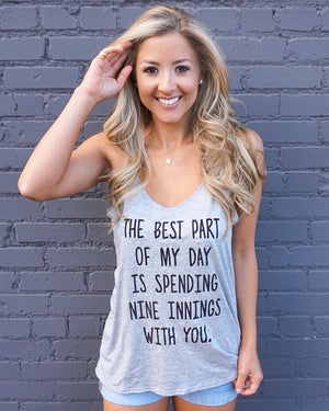 Baseball – Nine Innings With You – Slouchy Gray Tank - Live Love Gameday®