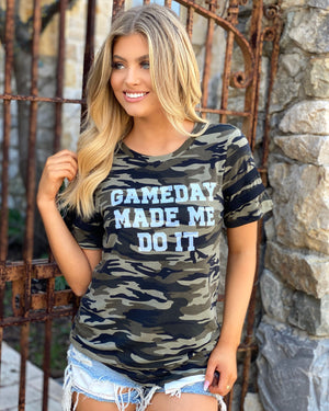 Gameday Made Me Do It Camo Black-Stripes Jersey Tee