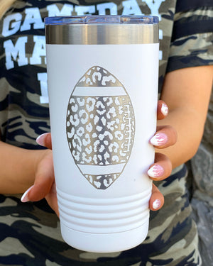 Leopard Football Engraved Tumbler (White/Silver)