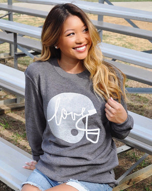 Football – Metallic Silver Helmet On Vintage Charcoal – Oversized Ribbed Vintage-Washed Crew