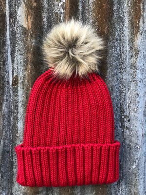 Live Love Gameday® Knit Red Beanie With Pom