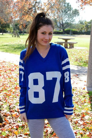 Game Day Jersey Sweater (Blue/White)