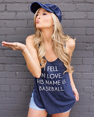 Baseball – His Name Is Baseball – Flowy Side Slit Tank – Vintage Navy & Silver - Live Love Gameday®
