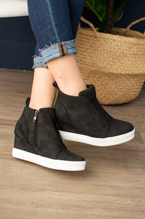 Faux Suede Wedge Sneaker (Black)