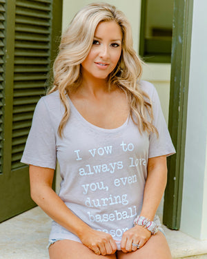 I Vow To Always Love You, Even During Baseball Season Flowy Burnout Top