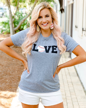 LOVE Baseball Basic Gray Tee