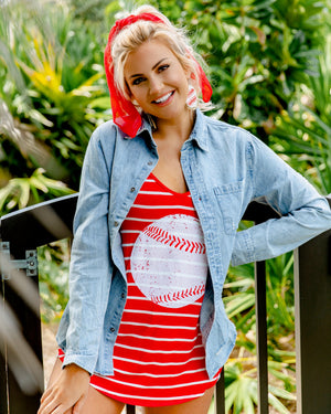 Flowy Red & White Stripe Tank With Large Distressed Baseball