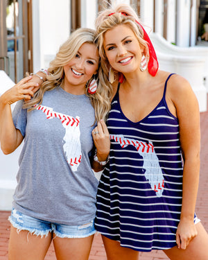 Flowy Navy & White Stripe Tank With Florida Baseball