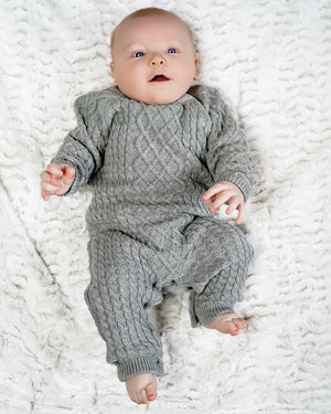 Gray Cable Knit Sweater Romper