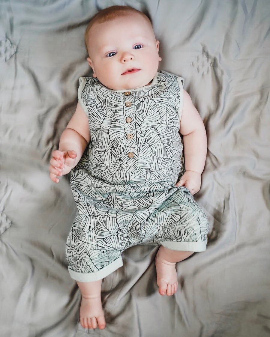 Vintage Leaves Sleeveless Shortie Romper