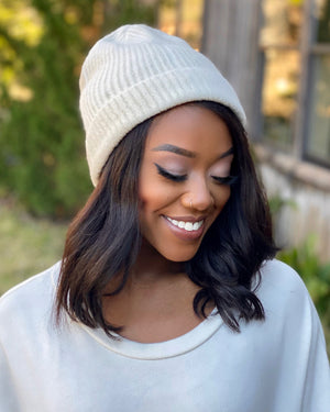 Basic Ribbed Winter White Beanie (Must Have!)