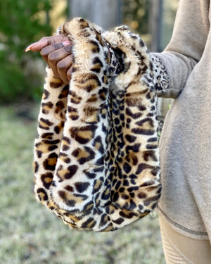 Furry Animal Print Bucket Tote