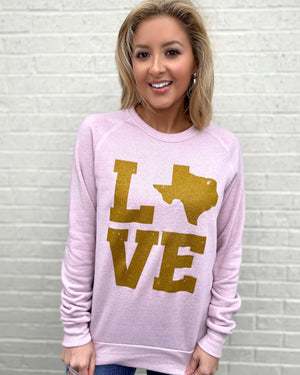 Metallic Gold TEXAS LOVE Fleece Sweatshirt