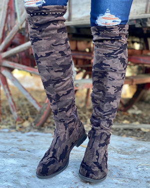 Fitted Camo Over-The-Knee Boot