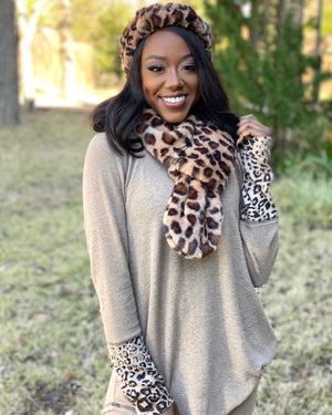 Dark Faux Fur Leopard Pocket Scarf + Ear Warmers (Sold Separately)