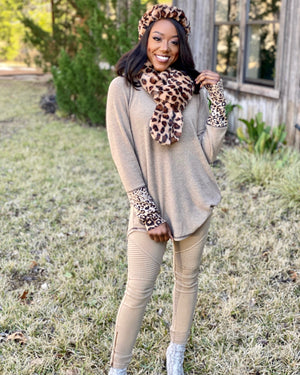 Softest Ever Cashmere Brushed Café Au Lait + Leopard Long-Sleeve Top