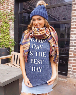Game Day – Game Day Is The Best Day – Vintage Navy V-Neck Tee