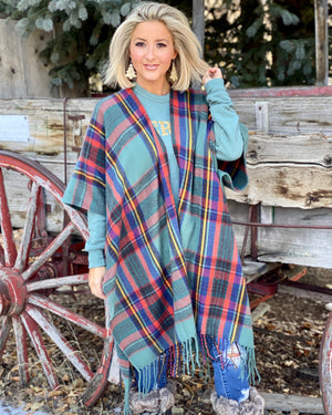 Holiday Green Plaid Fringe Scarf Poncho