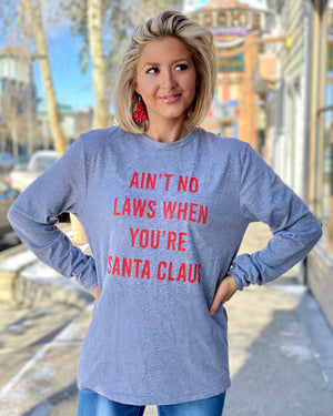 Ain't No Laws When You're Santa Claus Unisex Long-Sleeve Tee