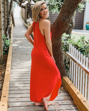 Modal Sandwashed Maxi Dress (True Red)