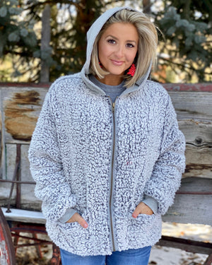 Oversized So Soft Sherpa Zip-Up Jacket With Pockets & Hood