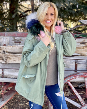 Oversized Faux Fur Military Green Jacket