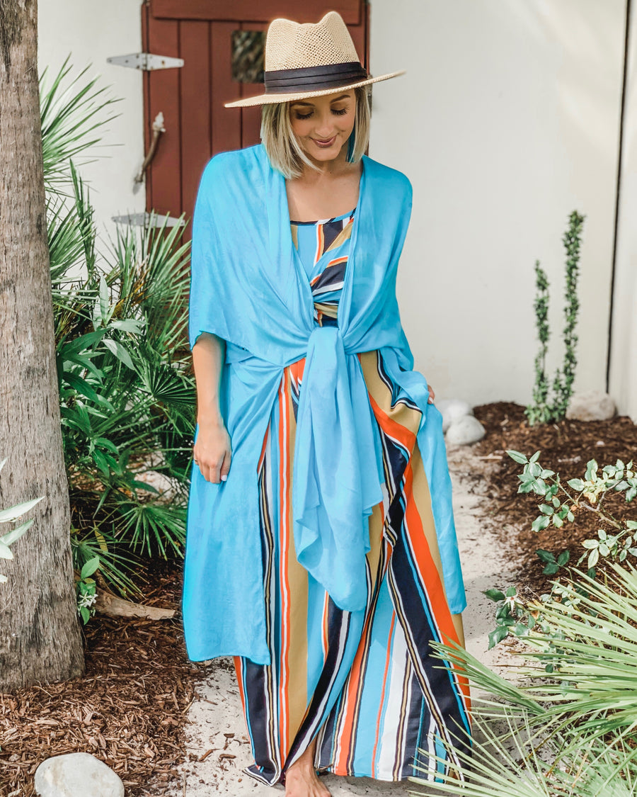 Turquoise Light Tie-Dye Kimono With Sleeves
