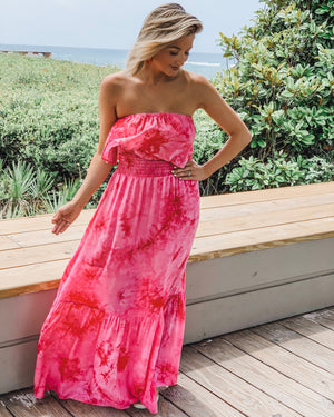 Strapless Tie-Dye Maxi Dress (Coral Red)