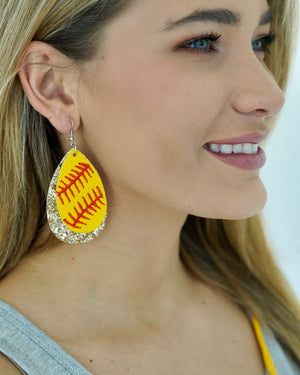 Large Faux Leather Gold Glitter Softball Earrings