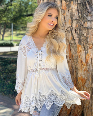 Scallop-Edged Crochet-Detailed Tunic