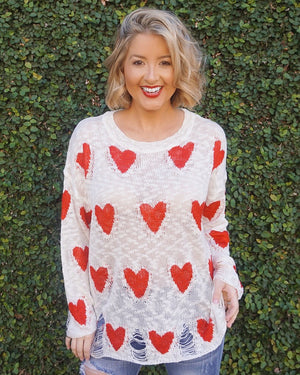 Heart Distressed Knit Sweater