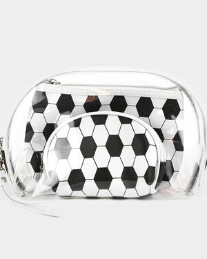 3-Piece Clear Game Day Stadium-Approved Bag Set / Makeup Bag Set (Soccer)