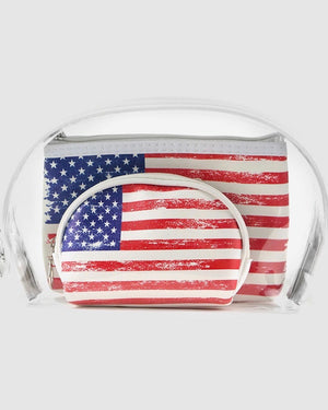 3-Piece Clear Game Day Stadium-Approved Bag Set / Makeup Bag Set (American Flag)