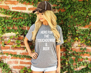 Football – Here For The Touchdowns & Beer – Unisex Tee