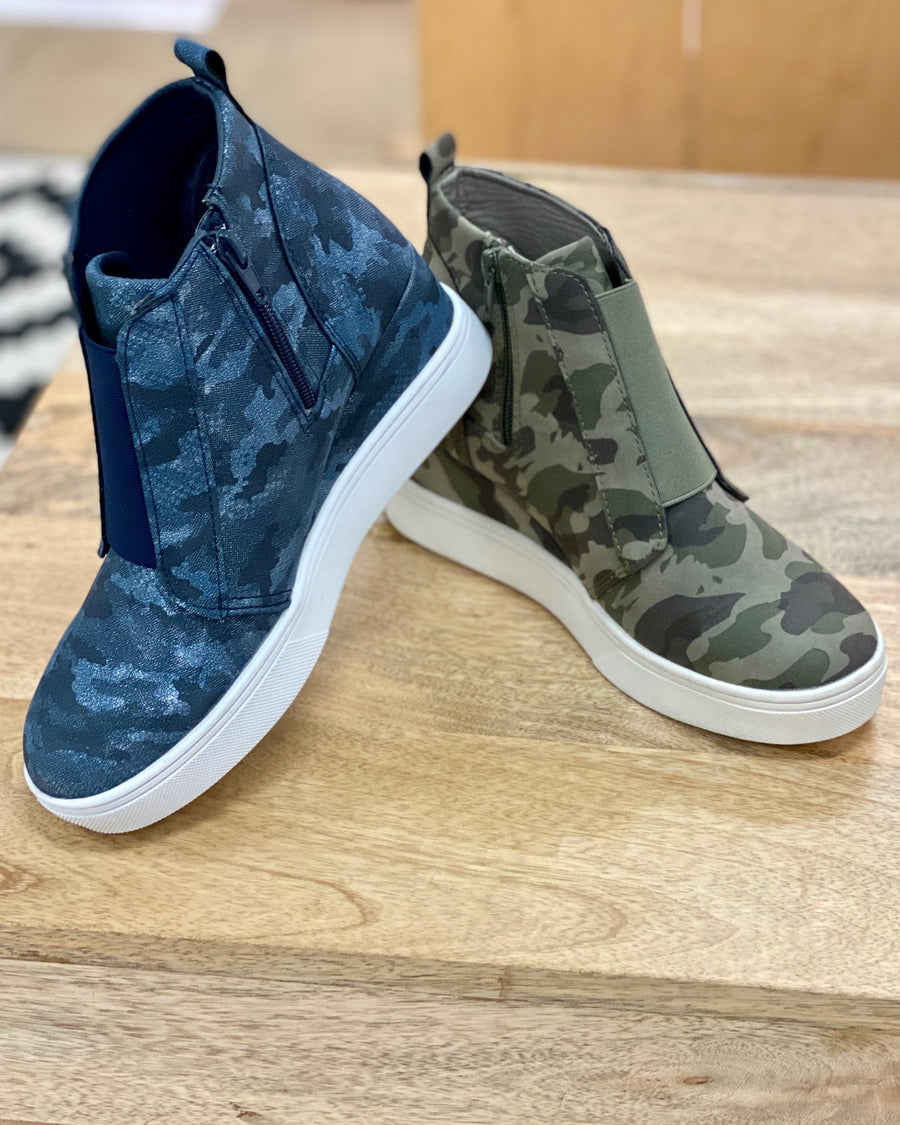 Metallic Navy Camo High-Top Wedge Sneaker