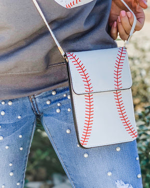 Baseball Crossbody With Cellphone Texting Clear Pouch