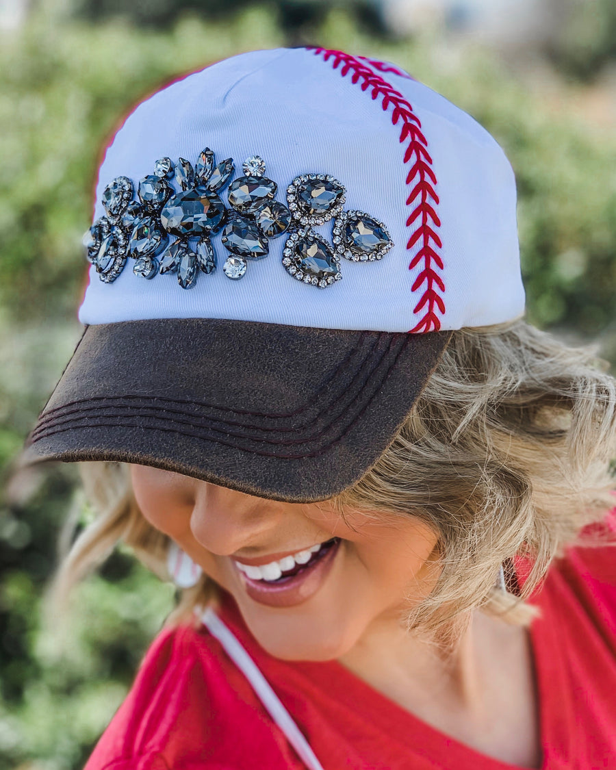 Baseball – Embroidered Baseball Cap With Crystals (Two Color Options)