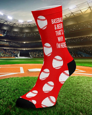 Baseball & Beer That's Why I'm Here Red Unisex Socks
