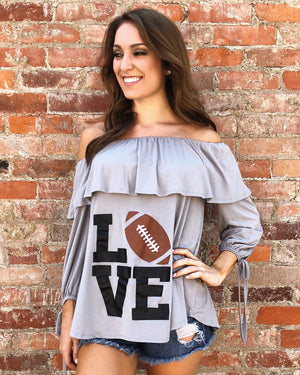 Sale – LOVE Football – LIMITED EDITION Off-The-Shoulder Ruffle Top