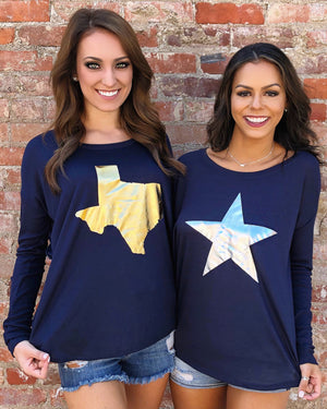 Sale – Metallic Gold Texas or Silver Star – Navy Long Sleeve Flowy Tee