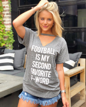 Football – Football Is My Second Favorite F-Word – Cut-Out Neckline Top