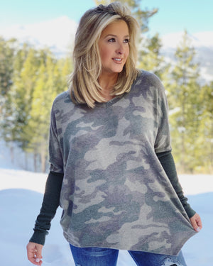 Thermal-Sleeves Oversized Camo Fleece (Pre-Order)