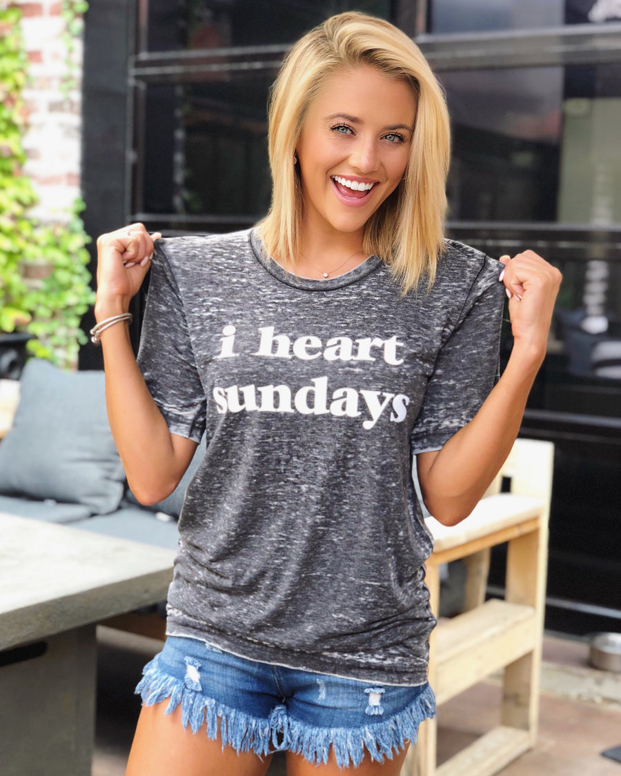 I Heart Sundays Gray Acid-Dipped Tee