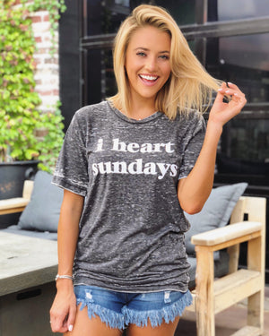 I Heart Sundays – Gray Acid-Dipped Tee