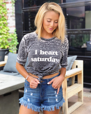 I Heart Saturdays – Gray Acid-Dipped Tee
