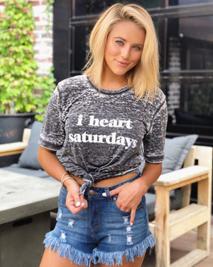 I Heart Saturdays Gray Acid-Dipped Tee