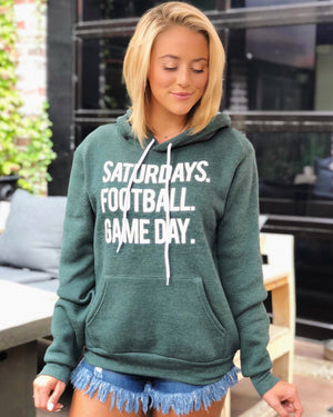 Football – Saturdays. Football. Game Day. – Ultra-Plush Unisex Hoodie – Vintage Green