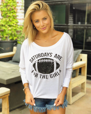Football – Saturdays Are For The Girls – Off-The-Shoulder Long-Sleeve